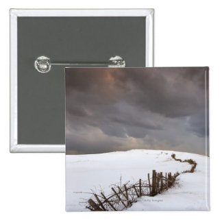 A Broken Fence Along A Snow Covered Field 15 Cm Square Badge