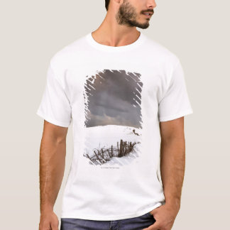 A Broken Fence Along A Snow Covered Field T-Shirt