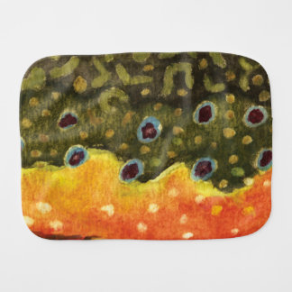 A Brook Trout Fishing Baby Baby Burp Cloth