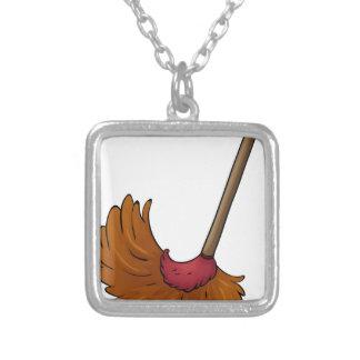 a broom square pendant necklace