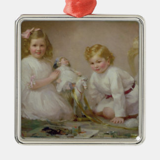A Brother and Sister Playing, 1915 Silver-Colored Square Decoration