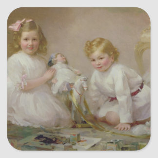 A Brother and Sister Playing, 1915 Square Sticker