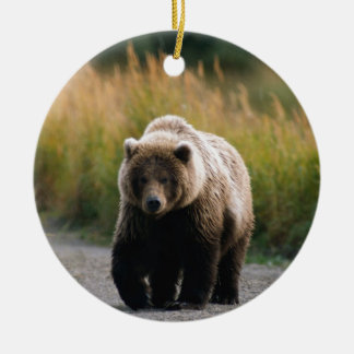 A Brown Bear Walking on a Trail Round Ceramic Decoration