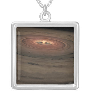 A brown dwarf surrounded by a swirling disk silver plated necklace
