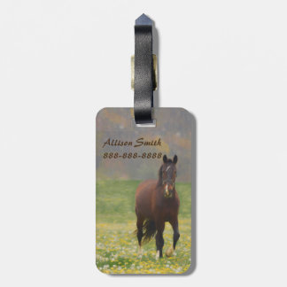 A Brown Horse in a Field with Dandelions Luggage Tag