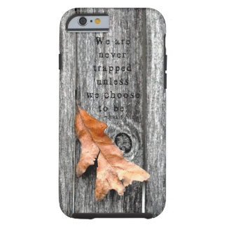 A Brown Leaf Trapped in a Gray Fence Tough iPhone 6 Case