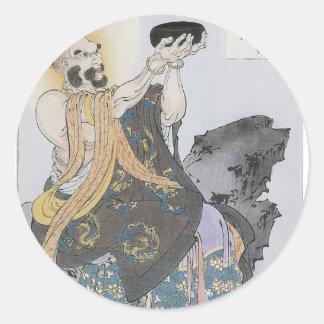 A Buddhist Monk Receives Seeds On a Moonlit Night Round Sticker