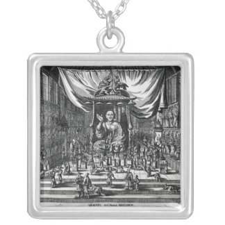 A Buddhist Temple, an illustration Silver Plated Necklace