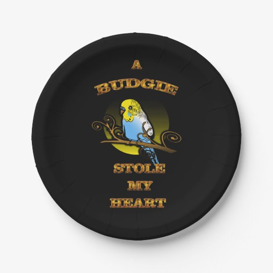 A Budgie Stole My Heart Paper Plate
