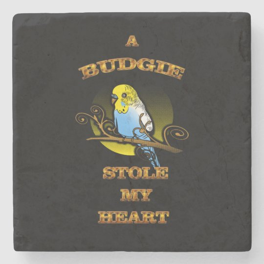 A Budgie Stole My Heart Stone Coaster