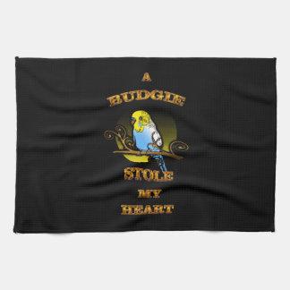 A Budgie Stole My Heart Tea Towel