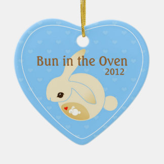 a BUN in the oven (blue) Christmas Ornament