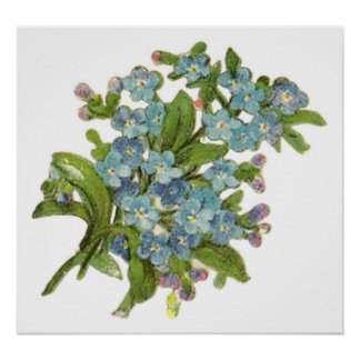 A Bunch of Blue Flowers Customizable Poster