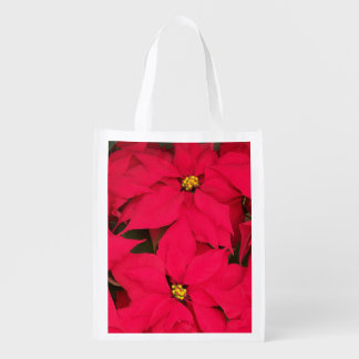 A bunch of Brightly Colored Christmas Poinsettias Grocery Bag