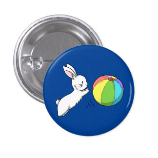 A bunny and a ball 3 cm round badge