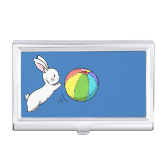 A bunny and a ball business card holder