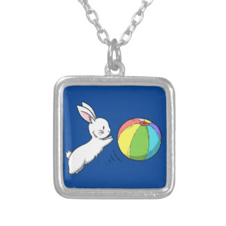 A bunny and a ball silver plated necklace