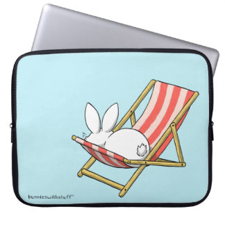 A bunny and a deckchair laptop sleeve