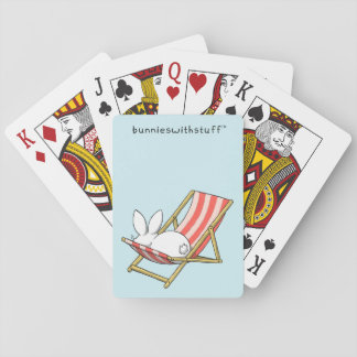 A bunny and a deckchair playing cards