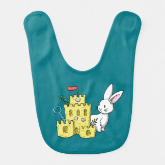 A bunny and a sandcastle bib