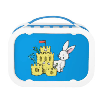 A bunny and a sandcastle lunchboxes