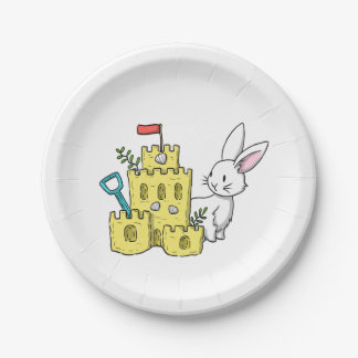A bunny and a sandcastle paper plate
