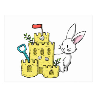 A bunny and a sandcastle postcard