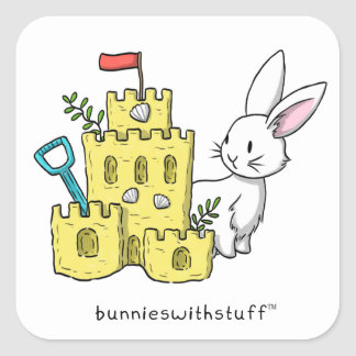 A bunny and a sandcastle square sticker