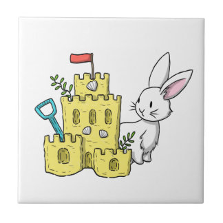 A bunny and a sandcastle tile