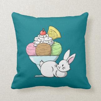 A bunny and an ice cream cushion