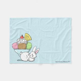 A bunny and an ice cream fleece blanket
