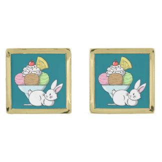 A bunny and an ice cream gold finish cufflinks