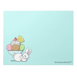 A bunny and an ice cream notepad