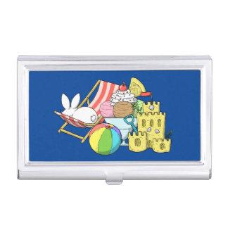 A bunny at the beach business card holder