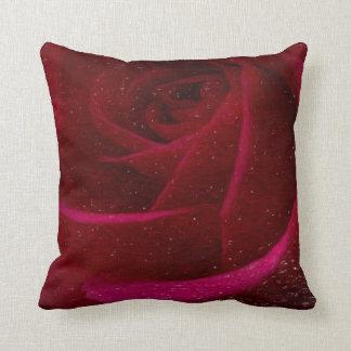 A Burgundy Rose in Snow Throw Cushions