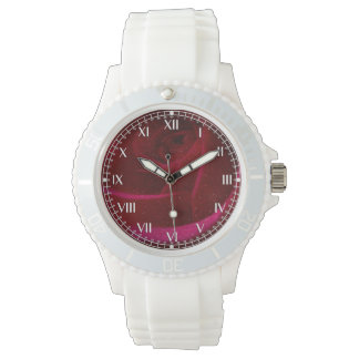 A Burgundy Rose in Snow Wrist Watches