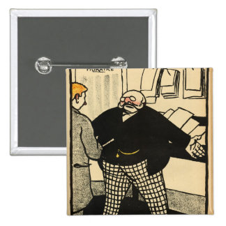 A business man and his client 15 cm square badge