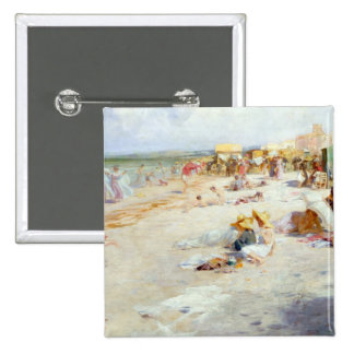 A Busy Beach in Summer 15 Cm Square Badge