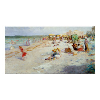 A Busy Beach in Summer Poster