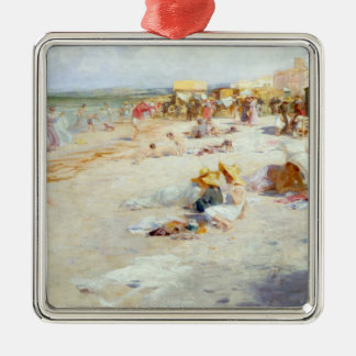 A Busy Beach in Summer Silver-Colored Square Decoration