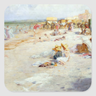 A Busy Beach in Summer Square Stickers