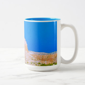 A butte at Ghost Ranch Two-Tone Coffee Mug