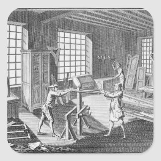 A cabinet maker's workshop, from the 'Encyclopedie Square Sticker