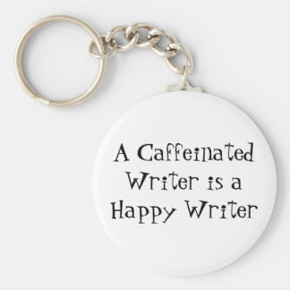 A Caffeinated Writer is a Happy Writer Basic Round Button Key Ring