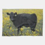 A calf amid the sunflowers of the Nebraska Kitchen Towels