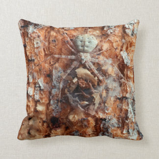 A Camouflaged Bark Spider Throw Pillow