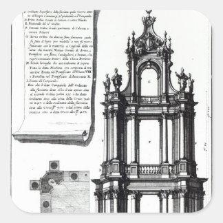 A campanile designed for St. Peter's, Rome Square Sticker