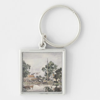 A Canal in The Hague, 1868 Silver-Colored Square Key Ring