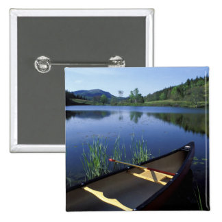 A canoe rests on the shore of Little Long Pond 15 Cm Square Badge