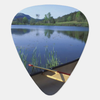 A canoe rests on the shore of Little Long Pond Guitar Pick